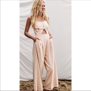 Free people Marbella rose pink linen jumpsuit